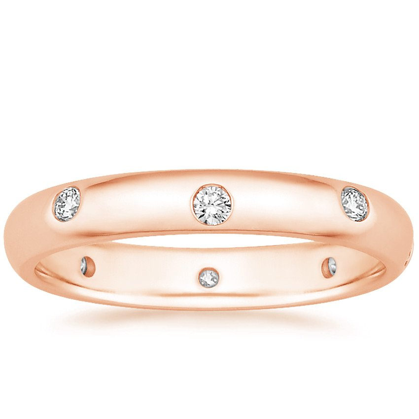 14K Rose Gold Nova Diamond Ring, top view