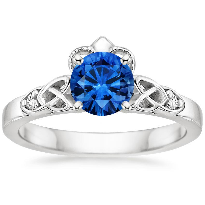 Sapphire Celtic Claddagh Diamond Ring in 18K White Gold with 6mm Round Blue Sapphire