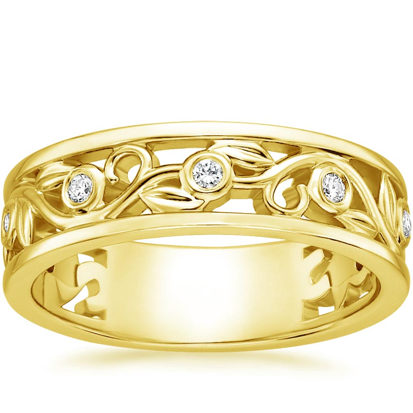 18K Yellow Gold Leaves and Buds Diamond Ring, top view