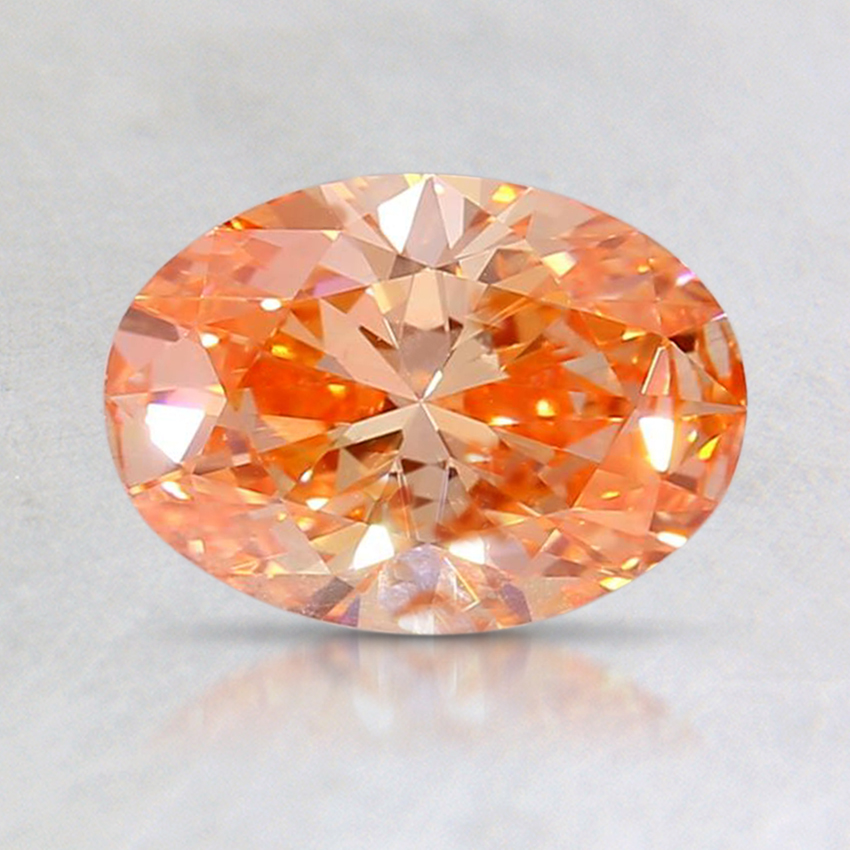 0.93 Ct. Fancy Vivid Orangy Pink Oval Lab Created Diamond