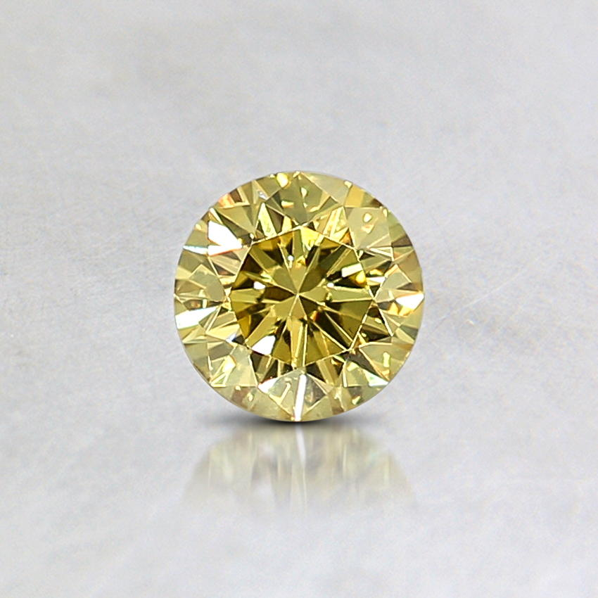 0.17 Ct. Natural Fancy Vivid Yellow Round Diamond