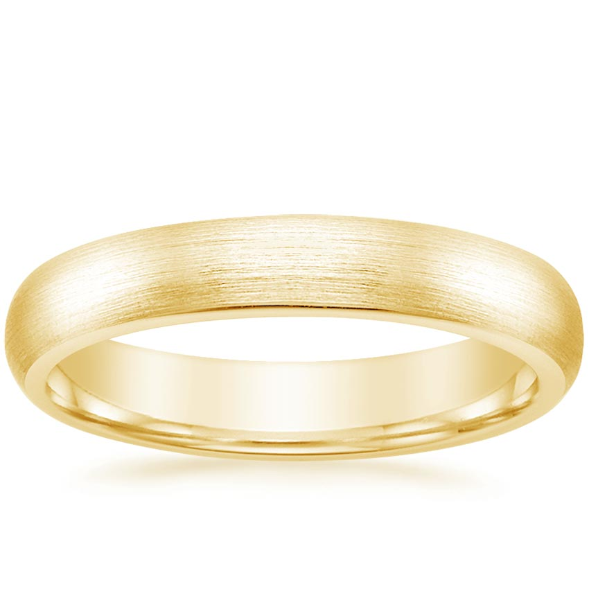 Yellow Gold 4mm Matte Comfort Fit Wedding Ring