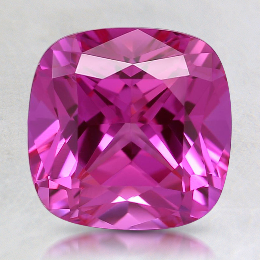 8mm Dark Pink Cushion Lab Created Sapphire