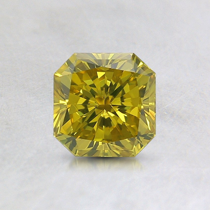 0.73 Ct. Lab Created Fancy Intense Greenish Yellow Radiant Diamond, top view