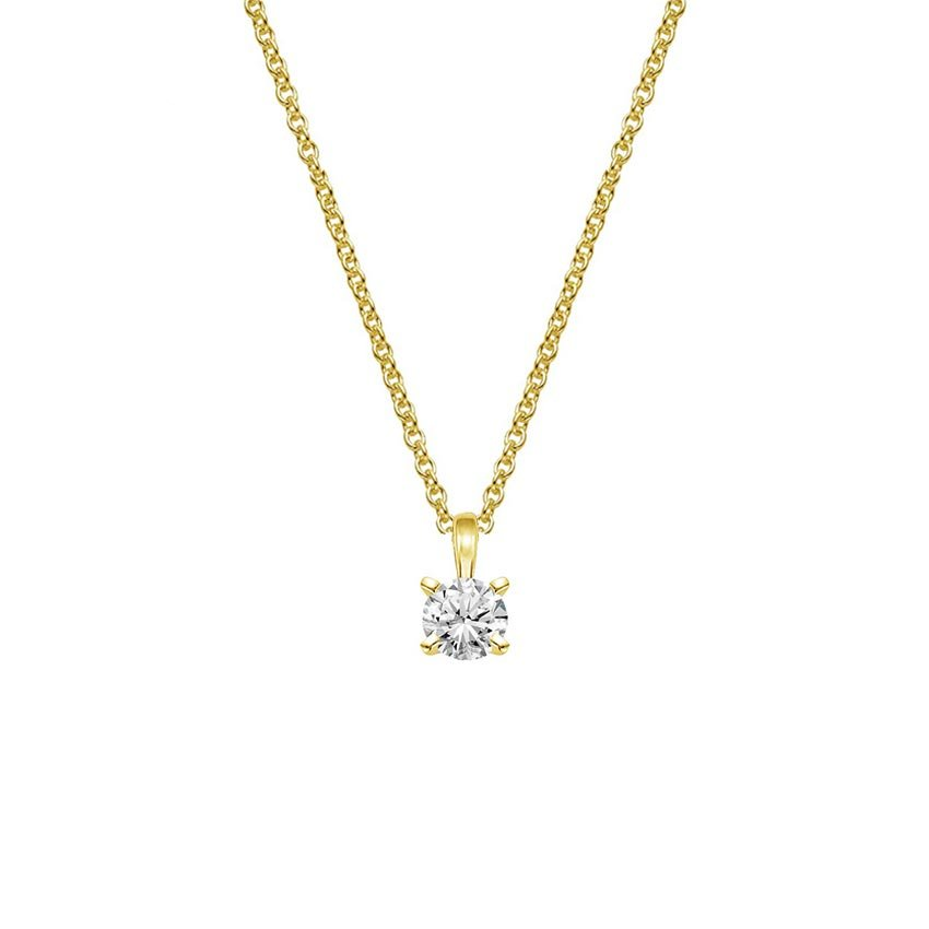 18K Yellow Gold Four-Prong Diamond Pendant (1/4 ct. tw.), top view