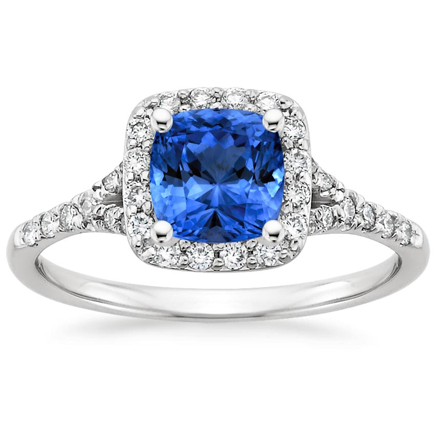 18K White Gold Sapphire Harmony Diamond Ring, top view