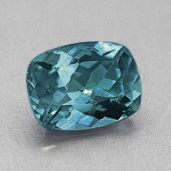 8x6mm Malawi Teal Cushion Sapphire, top view