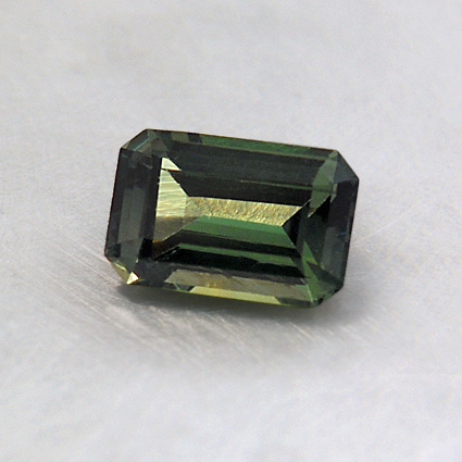 6X4mm Super Premium Green Emerald Cut Sapphire, top view