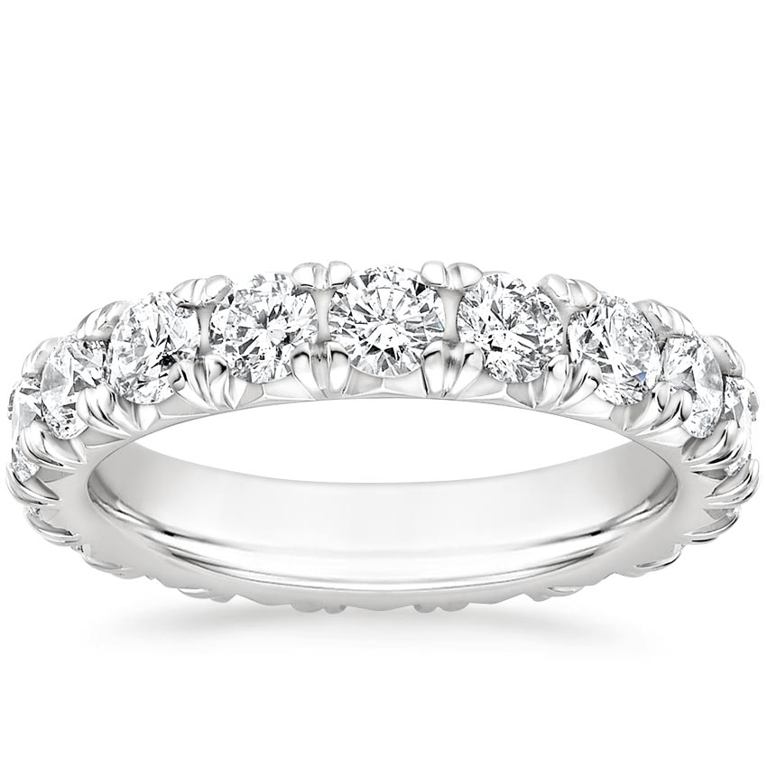 French Pavé Eternity Lab Diamond Ring (3 ct. tw.) in 18K White Gold