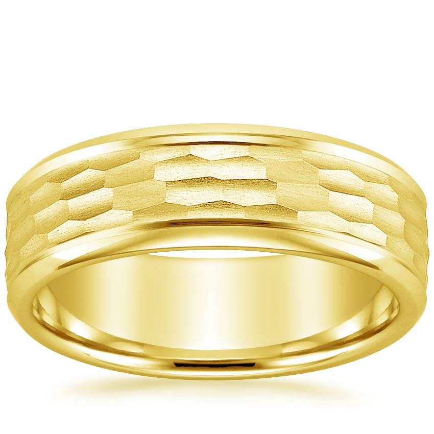 18K Yellow Gold River Wedding Ring, top view