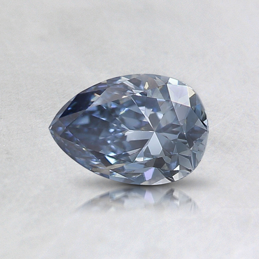 0.52 ct. Lab Created Fancy Vivid Blue Pear Diamond, top view