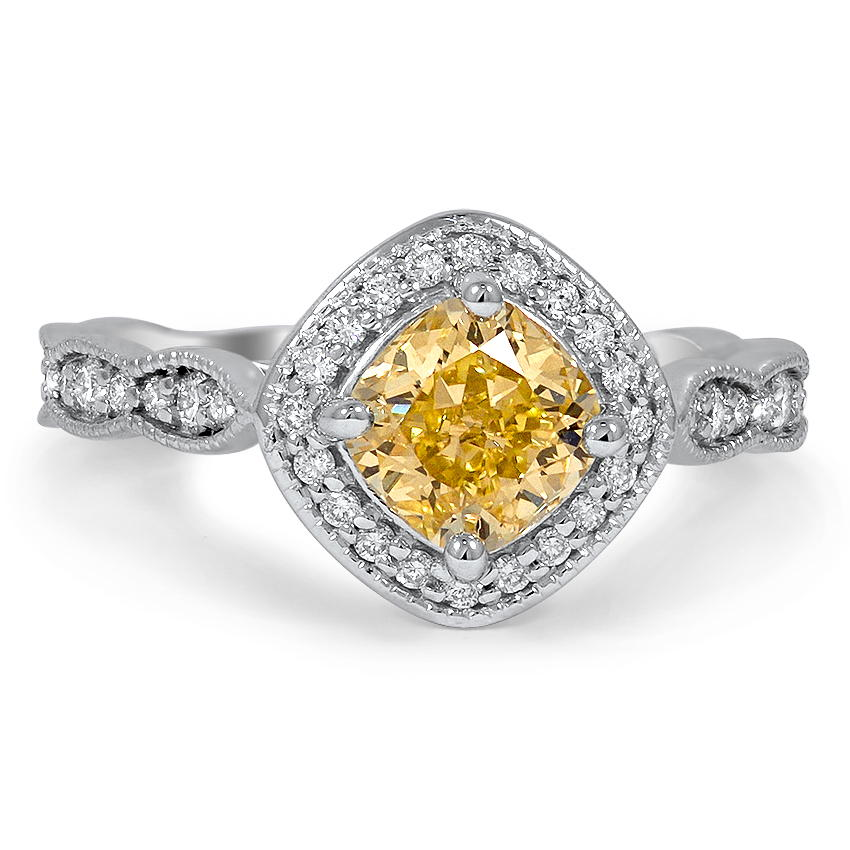Custom Vintage Inspired Fancy Yellow Diamond Halo Ring