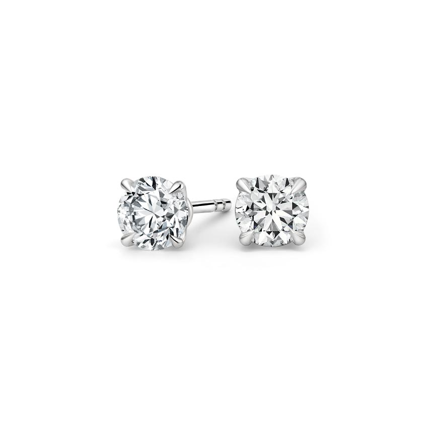 Platinum Claw Prong Round Diamond Stud Earrings, top view