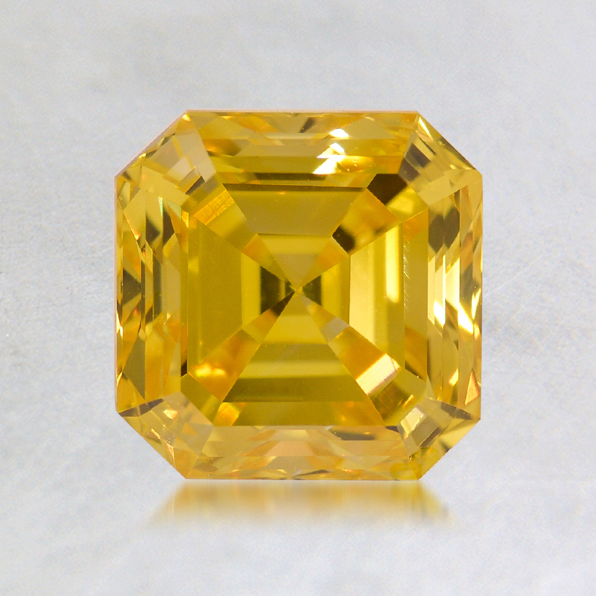 1.50 ct. Lab Created Fancy Vivid Yellow Asscher Diamond, top view