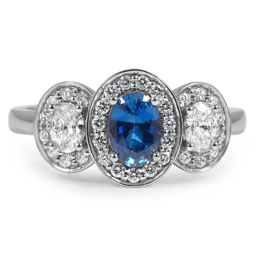 Custom Three Stone Oval Sapphire Halo Ring