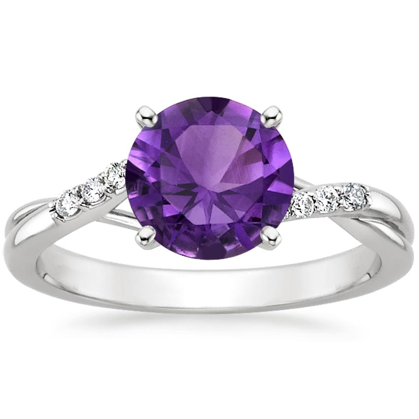 Amethyst Chamise Ring in 18K White Gold