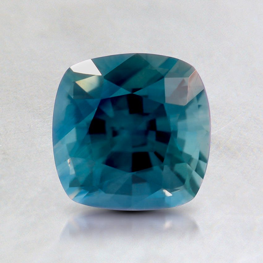 6mm Teal Cushion Sapphire, top view