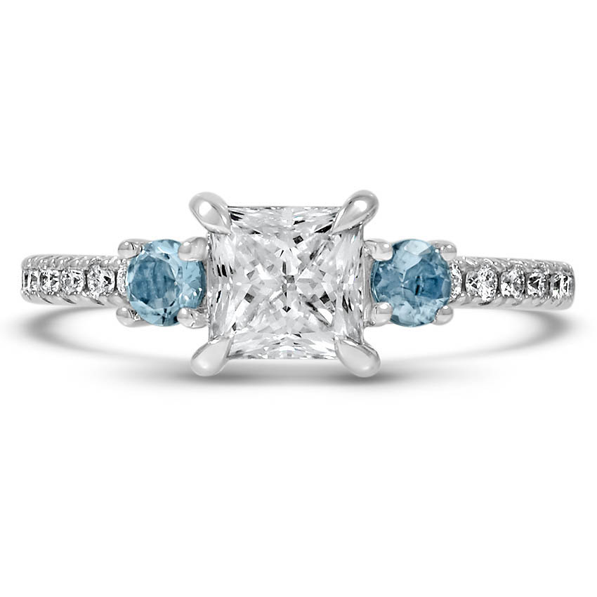 Custom Aquamarine Three Stone Diamond Ring