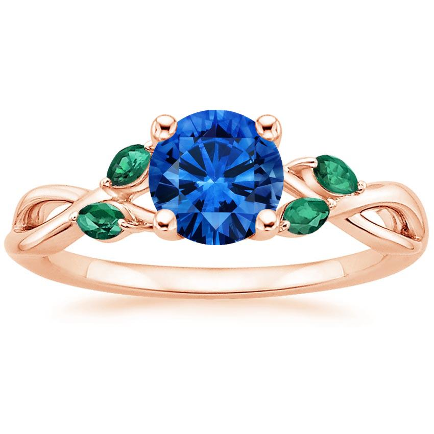 Sapphire Willow Ring With Lab Emerald Accents in 14K Rose Gold with 6mm Round Blue Sapphire