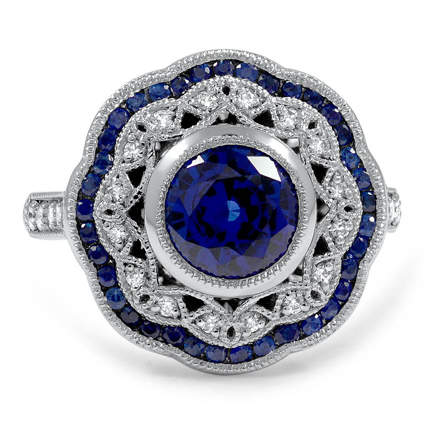Custom Vintage Inspired Diamond And Sapphire Halo Ring