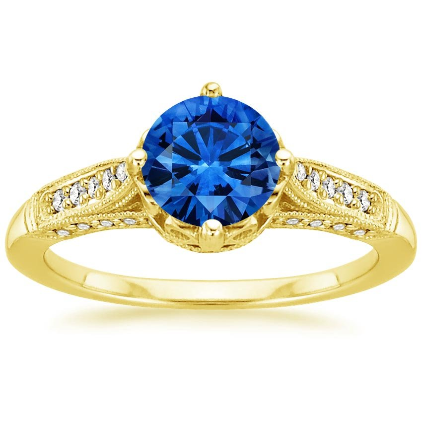 Sapphire Heirloom Diamond Ring in 18K Yellow Gold with 6.5mm Round Blue Sapphire