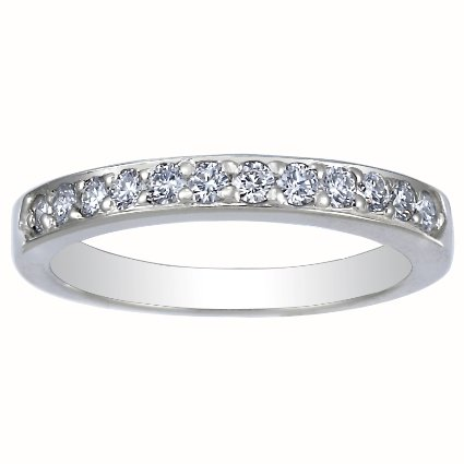 18K White Gold Bead-Set Round Diamond Ring, top view