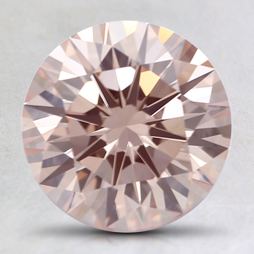 2.15 Ct. Fancy Light Orangy Pink Round Lab Created Diamond