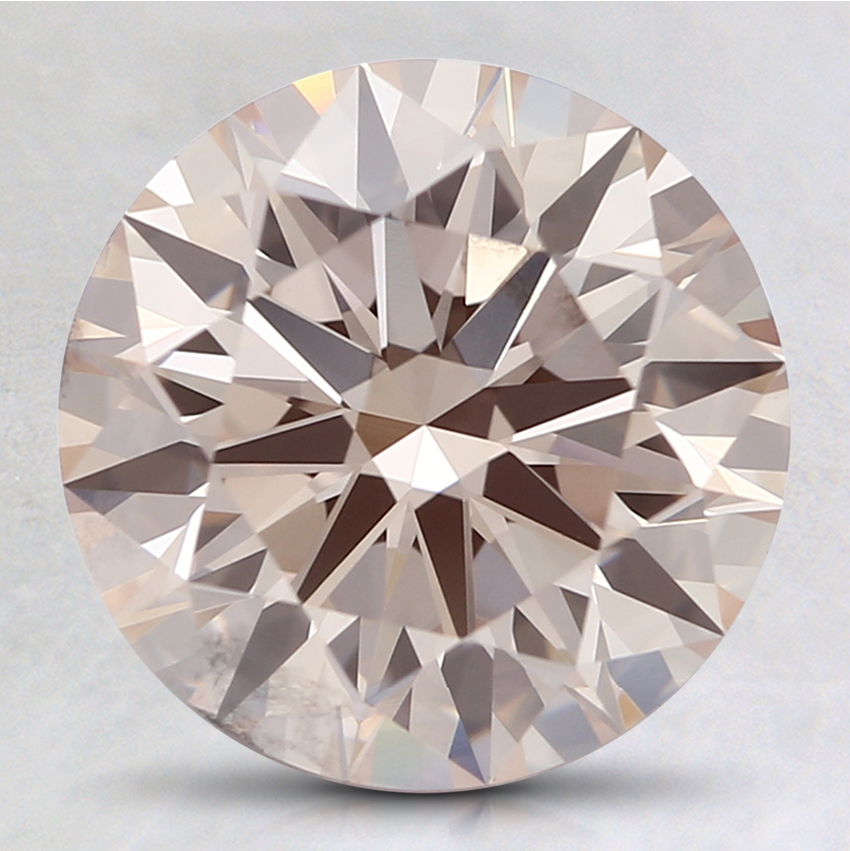 2.50 Ct. Light Orangy Pink Round Lab Created Diamond