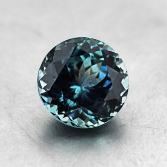 7.2mm Malawi Teal Round Sapphire, top view