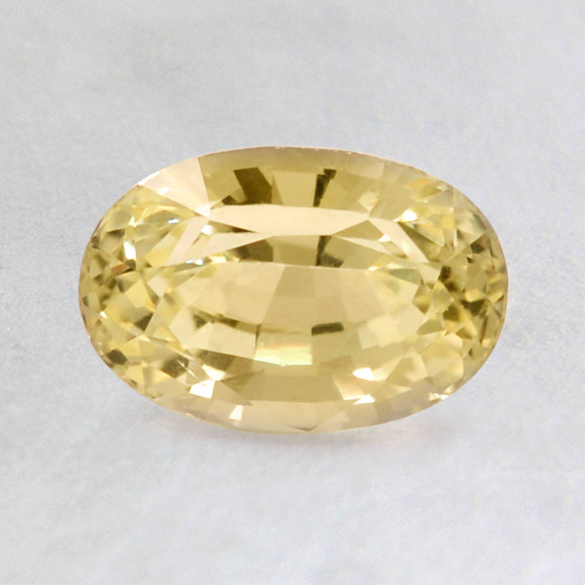 7.5x5mm Yellow Oval Sapphire, top view