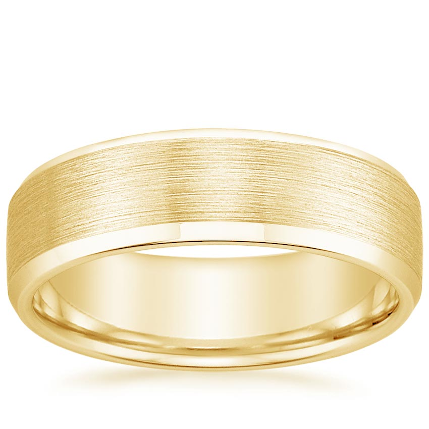 Yellow Gold 6.5mm Beveled Edge Matte Wedding Ring