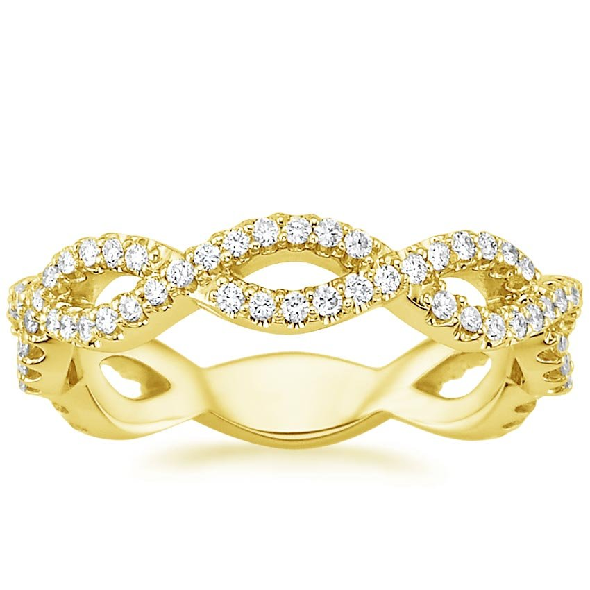 18K Yellow Gold Eternal Twist Diamond Ring, top view