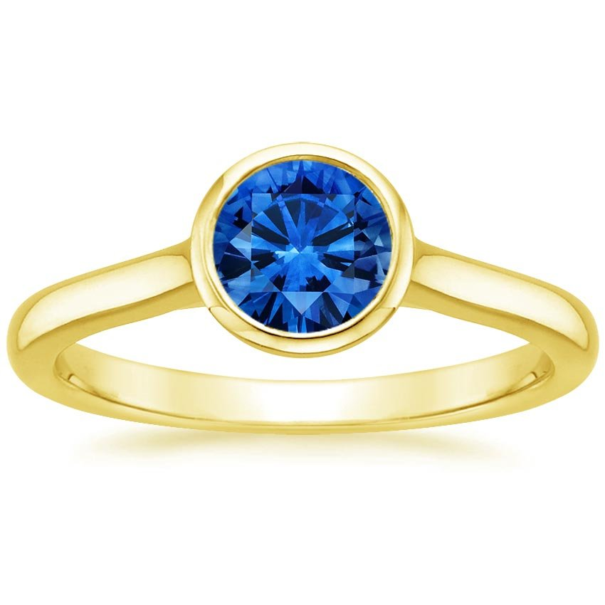 18K Yellow Gold Sapphire Luna Ring, top view