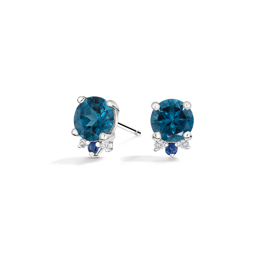 Topaz, Sapphire, and Diamond Stud Earrings