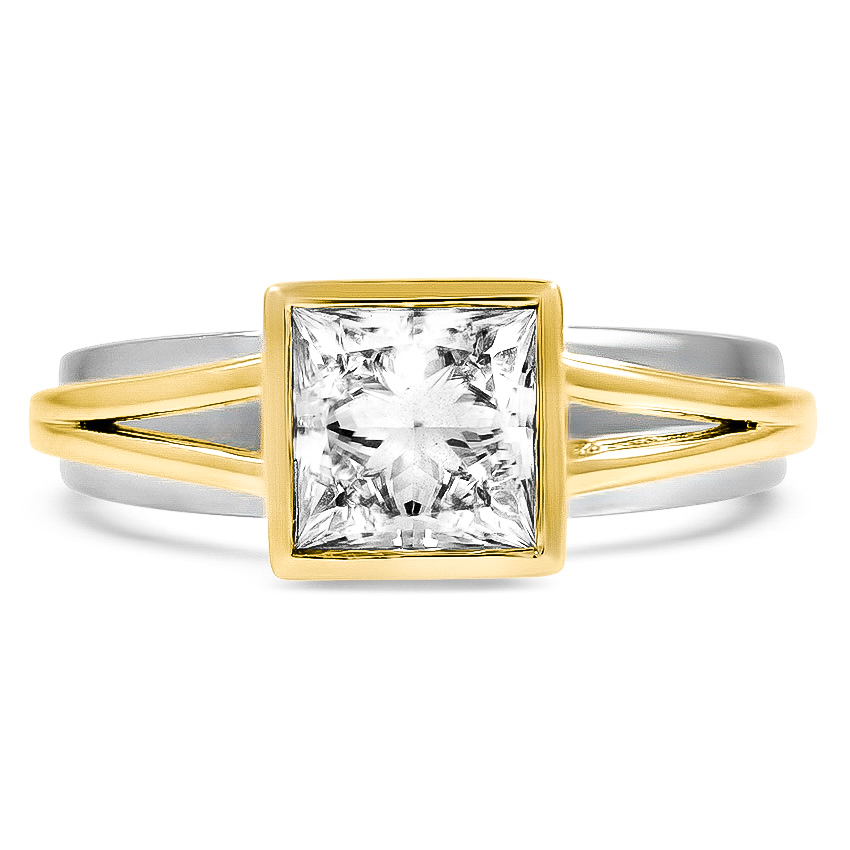 Custom Modern Two-Tone Diamond Ring