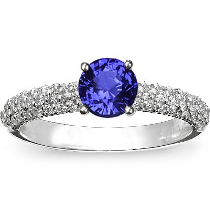 Platinum Sapphire Pavé Diamond Multi Row Ring, top view