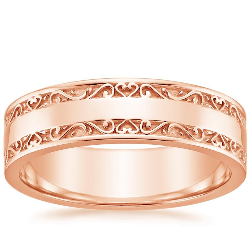Antique Scroll Bands: Wide Antique Scroll Wedding Ring In 14K Rose Gold
