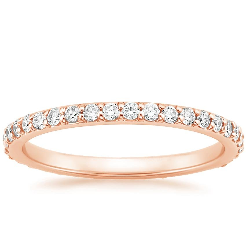 14K Rose Gold Petite Shared Prong Eternity Diamond Ring (1/2 ct. tw.), top view