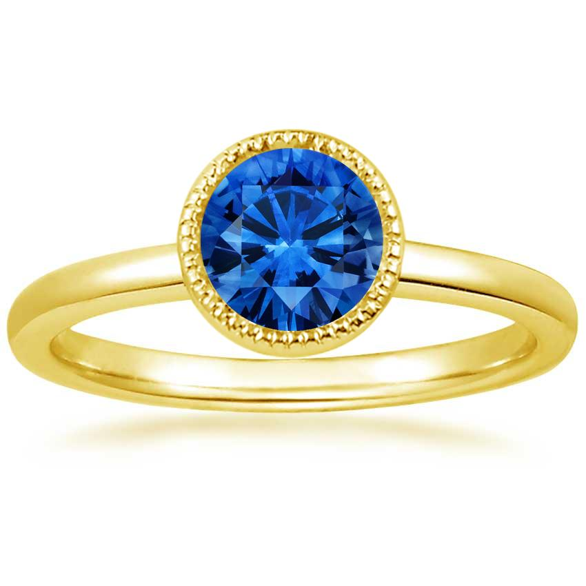 18K Yellow Gold Sapphire Sierra Ring, top view