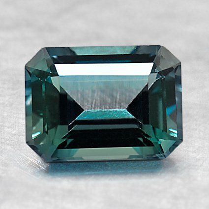 8X6mm Premium Teal Emerald Sapphire, top view