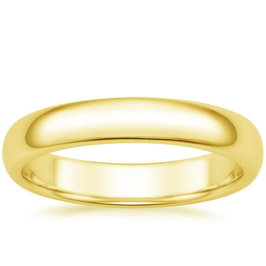 18K Yellow Gold 4mm Comfort Fit Wedding Ring, top view