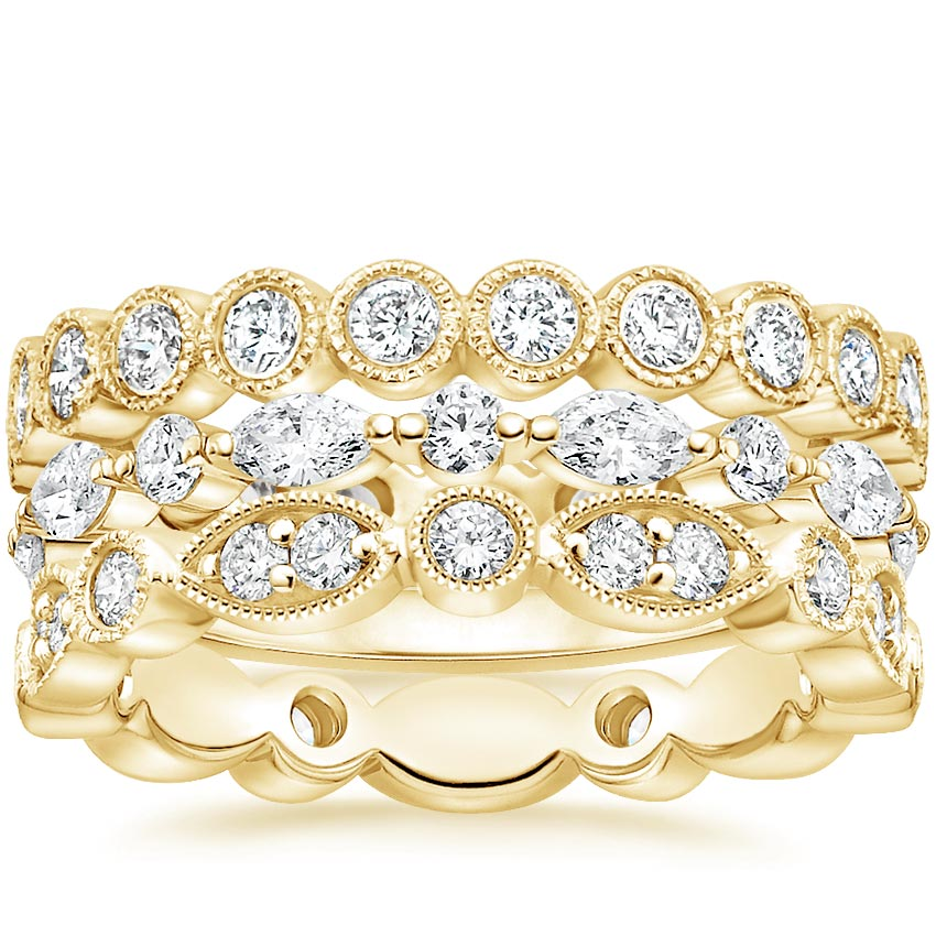 Yellow Gold Luxe Vintage Diamond Ring Stack (1 1/2 ct. tw.)