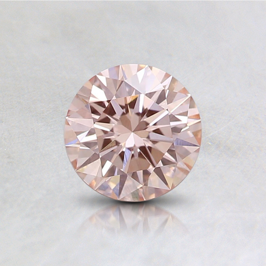0.53 Ct. Fancy Orangy Pink Round Lab Created Diamond