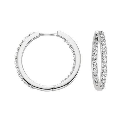 18K White Gold Petite Shared Prong Hoop Earrings (1/2 ct. tw.), top view