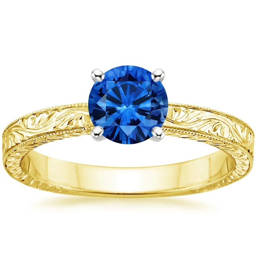 18K Yellow Gold Sapphire Hand-Engraved Laurel Ring, top view