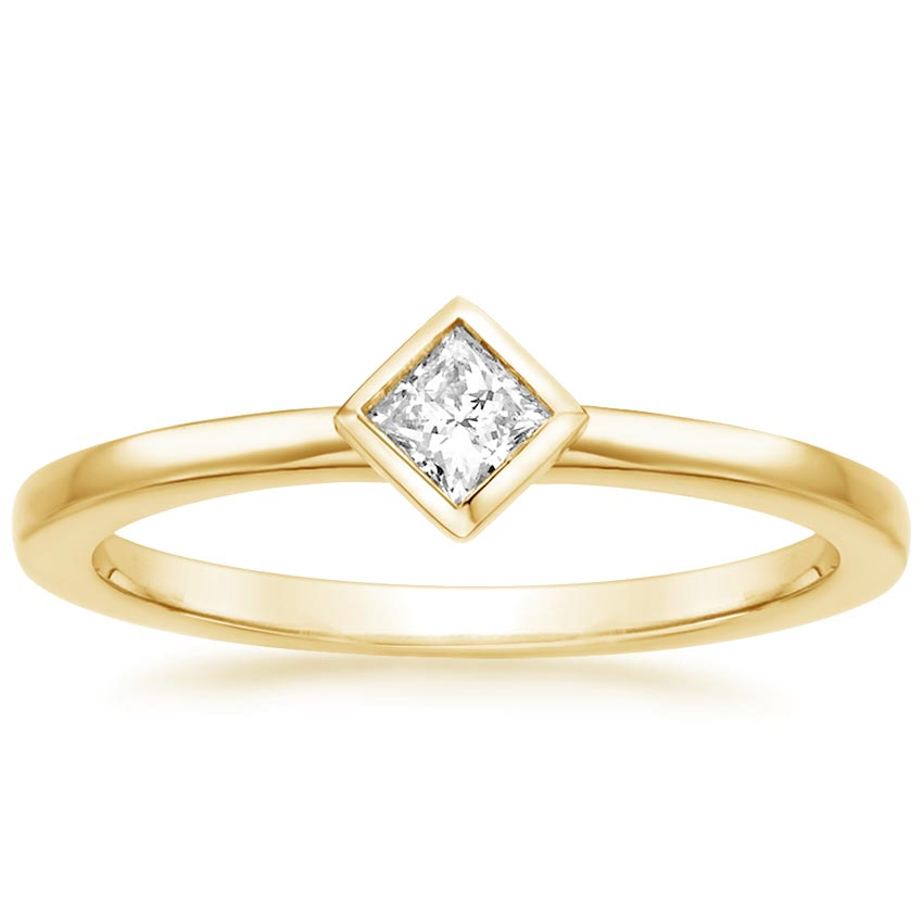 Yellow Gold Princess Bezel Diamond Ring