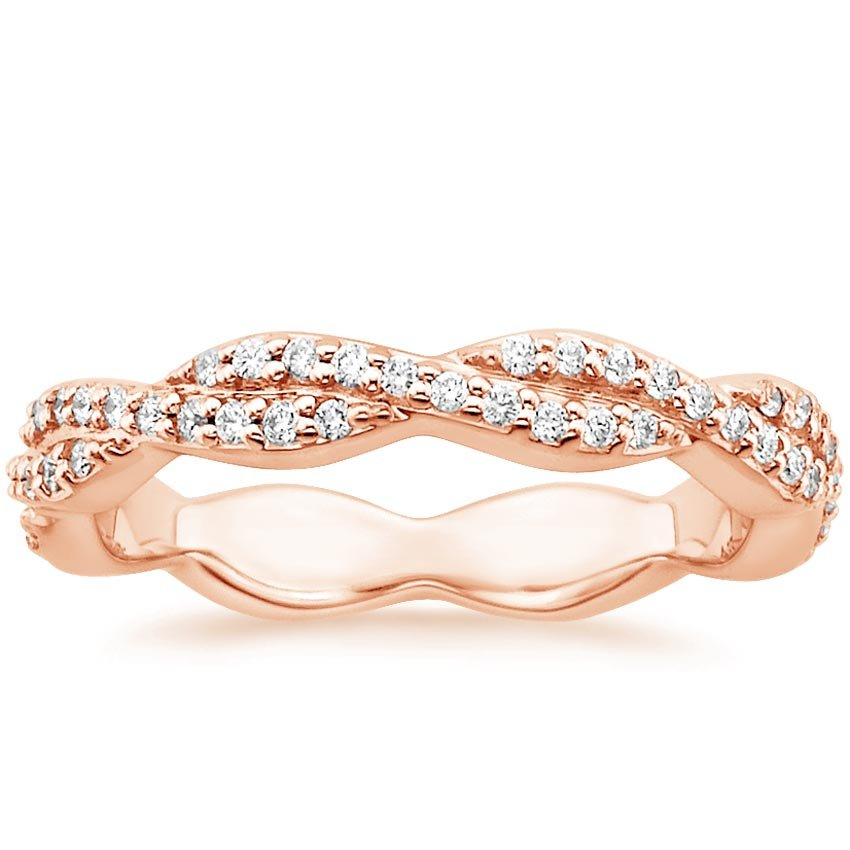 14K Rose Gold Luxe Eternity Twisted Vine Diamond Ring, top view