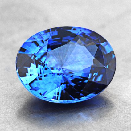 8.1x6.4mm Blue Oval Sapphire, top view