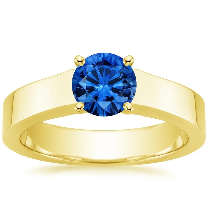18K Yellow Gold Sapphire Marina Ring, top view