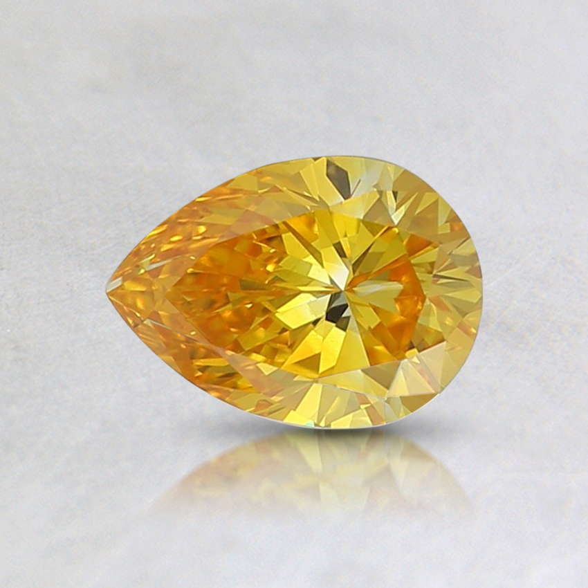 0.54 Ct. Fancy Vivid Orange-Yellow Pear Lab Created Diamond